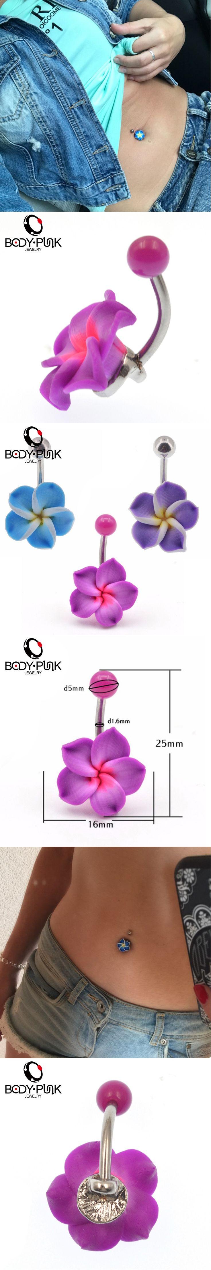 Belly Button Rings New Arrival  body jewelry 1 Pcs Purple Flowers Soft Clay Piercings Jewelry Navel piercing ombligo nombril