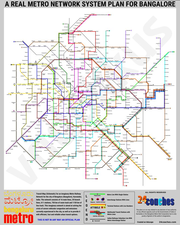 A network plan and (schematic) transit map for an imaginary comprehensive Metro network for Bangalore, India