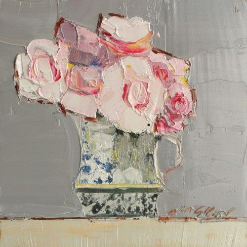 DIY Art Inspiration With Acrylic Paint Make Some Flowers On Canvas Shown Pink Roses By Mhairi McGregor
