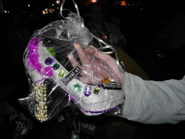 Krewe of Muses shoe: Decorating Ideas, Shoes Es, Muses Shoes, Street Signs, People S Muses, Gras Decorating, Mardi Gras, Krewe Of Muses