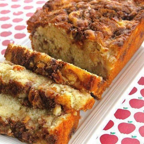 Apple Cinnamon Loaf: 1/3 cup brown sugar (not packed),1 teaspoon ground cinnamon, 2/3 cup white sugar, 1/2 cup butter softened,  2 eggs, 1 1/2 teaspoons vanilla extract, 1 1/2 cups all-purpose flour, 1 3/4 teaspoons baking powder, 1/2 cup milk, 1 apple peeled and chopped