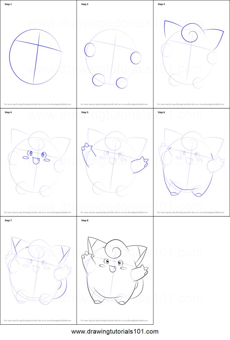 How To Draw Clefairy From Pokemon Printable Step By Step Drawing Sheet…
