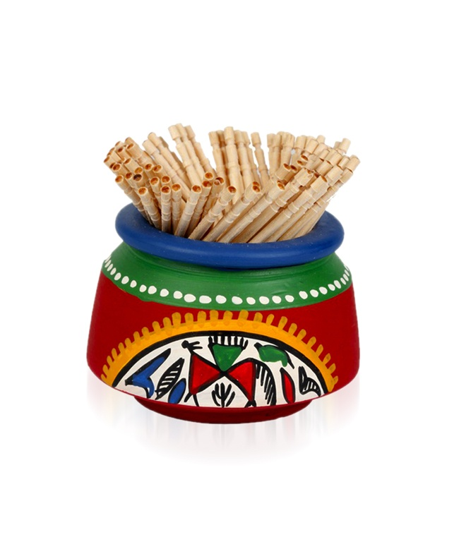 BRAND: ExclusiveLane.com  CATEGORY: Hand painted warli toothpick holder (set of 2)  COLOUR: Red and multi  MATERIAL: Terracotta