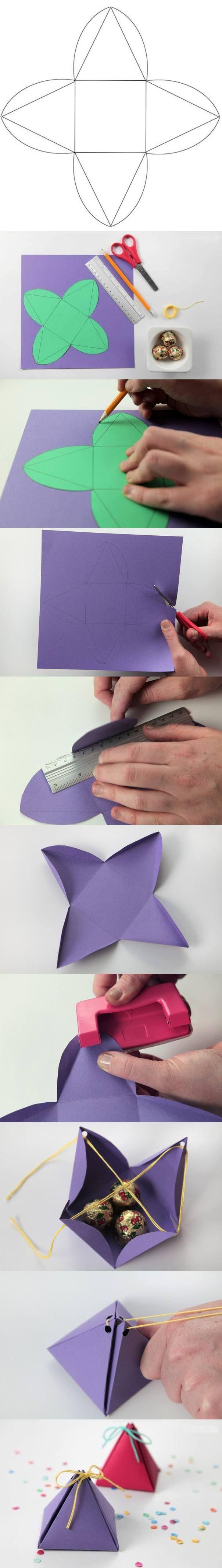 DIY Pyramid Gift Box - ideasdecor.com - Cajitas con forma de pirámide para regalos