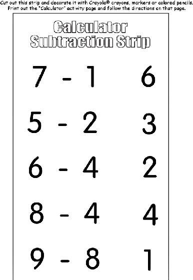Calculator Subtraction Strip coloring page