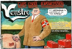 The UK illustrator Steve Bell has drawn the Danish Prime Minister Lars Løkke Rasmussen with Nazi ties for the British newspaper The Guardian. He believes that the comparison is full deserved. Most Danes also believe that it is a horrible new danish law, the police can confiscate personal valuables like wedding rings from the refugees.