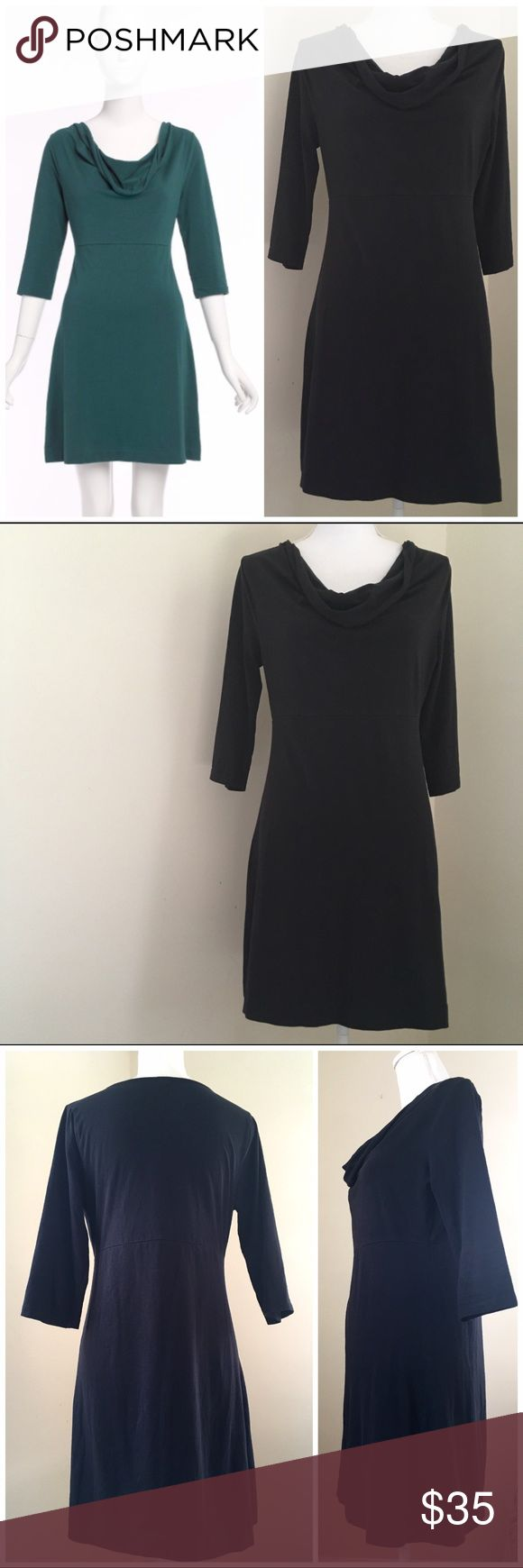 "J Crew Factory Black Cowlneck Softspun Dress small J Crew Factory Black Cowlneck Softspun Dress 3/4 Sleeves.  Cotton/spandex. Cowlneck. Three-quarter sleeves. Machine wash. Import. 17.75"" armpit to armpit, 15.25"" across waist, 34.25"" long. J. Crew Dresses Long Sleeve"