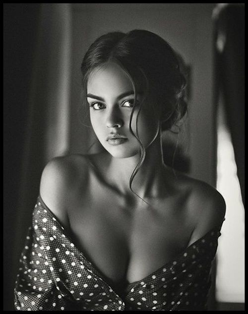 Beauty | off the shoulder with polkadots, lovely photography, hair & skin ♀ www.pinterest.com/WhoLoves/Beautiful-Women ♀ #beautiful #women