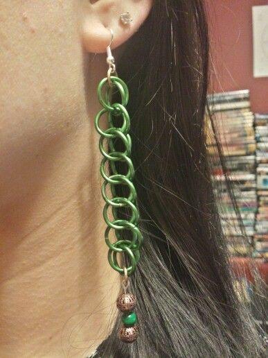 Green Half Persian Malachite Earrings