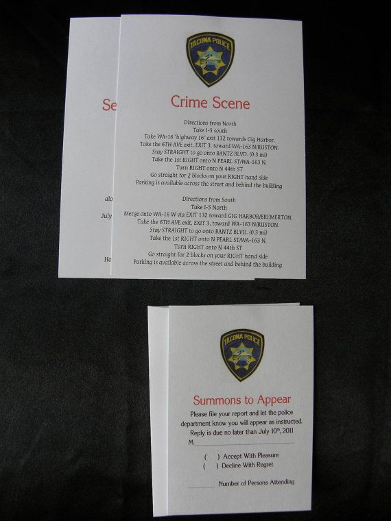 Police File Wedding Invitation Suite Fun and by uniquelyyourspd