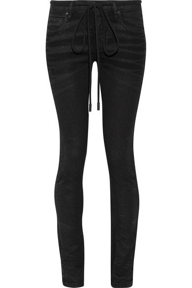 Off-White - Embroidered High-rise Skinny Jeans - Black -