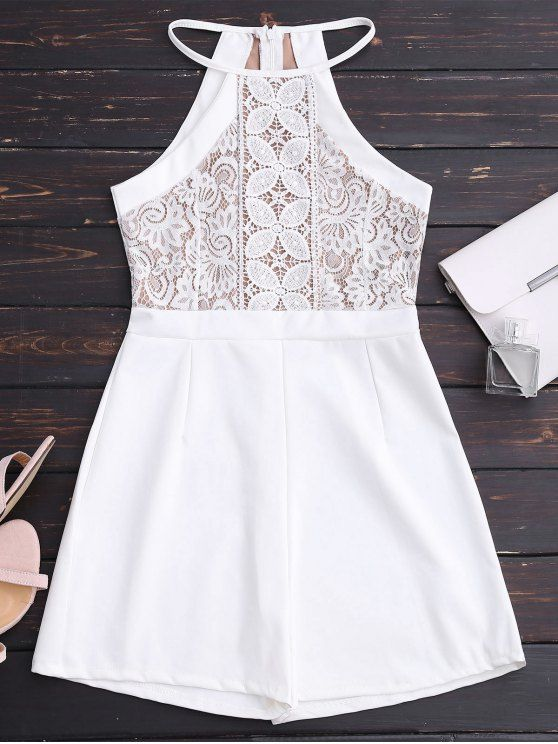 Sleeveless Lace Halter Romper - WHITE ONE SIZE