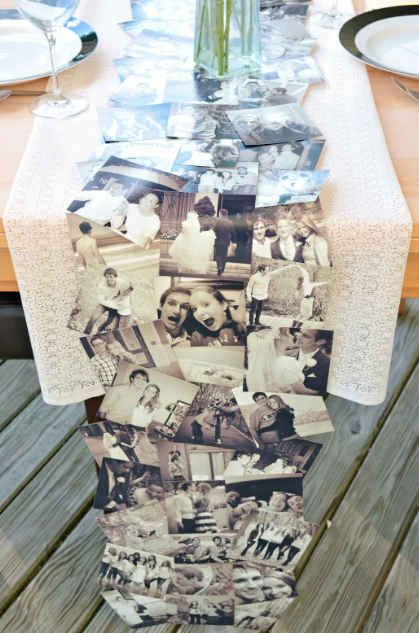 This easy DIY photo table runner is a must. | 30 Swoon-Worthy Engagement Party Ideas