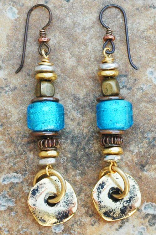 Turquoise Blue Glass, Gold and Bronze Dangle Earrings. Love these!