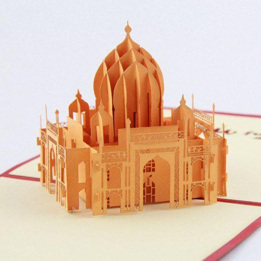 India Taj Mahal pop-up card - tarjeta de souvenirs corte laser 3d tarjeta de felicitación