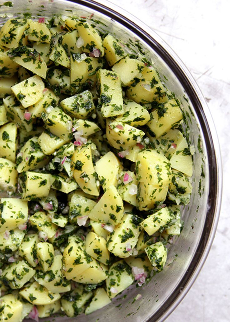 Bright and aromatic with plenty of fresh parsley, this potato salad is definitive of Moroccan cuisine.
