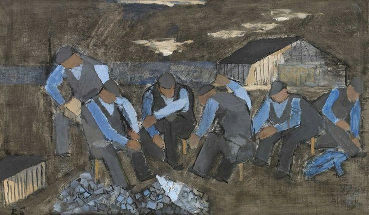 Ragnar Sandberg (Swedish, 1902-1972),Skördearbetare[Harvest workers], 1940. Panel, 36.5 x 60 cm.