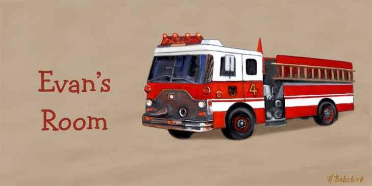 This Personalized Fire Truck Sign is the perfect addition to any child's room Hang this personalized Fire Truck sign on the wall, door, or display on a shelf Our personalized room signs include original Baby Chick Designs artwork, with a personalized name. Coordinates well with other Truck decor. Makes a wonderful birthday present or baby shower gift. Choose your font preference from the drop down list and include the name in Personalization Details box. Learn about our technique and materia