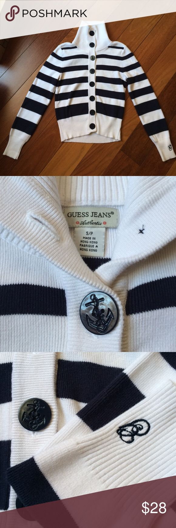 Brand New WOT Guess Nautical Cardigan Tag says S. Looks like it runs a little small but meant to stretch. Thick, stretchy finely ribbed cotton. Awesome button detail. All the way up to turtleneck height. Never worn or tried no flaws anywhere Guess Sweaters Cardigans