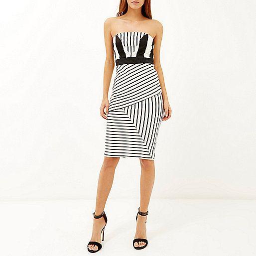 Black stripe bandeau pencil dress