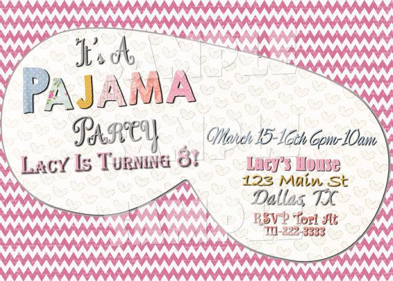 12 best pajamas party images on pinterest girls ideas and kate printable pajama party invitation pajama birthday party invitation sleepover party invitation sleeping mask pronofoot35fo Images