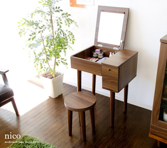 love this design, japanese mid century vanity table--perfect for a small space