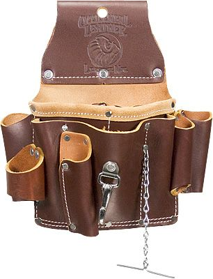"""Occidental Leathers 5055 all leather Electricians Tool Pouch incorporates 15 pockets and tool holders for most frequently used tools. Includes loop for flashlight, chain for electrical tape, quick release tool snap, heavy duty hammer holder, pockets for screw drivers and specialized tools. Tunnel loop on back accepts up to 3"""" work belt."""