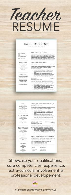 The 25 best teacher resume template ideas on pinterest resumes teacher resume template for word pages 1 2 and 3 page cv template resume for teachers educator cover letter instant download yelopaper Images