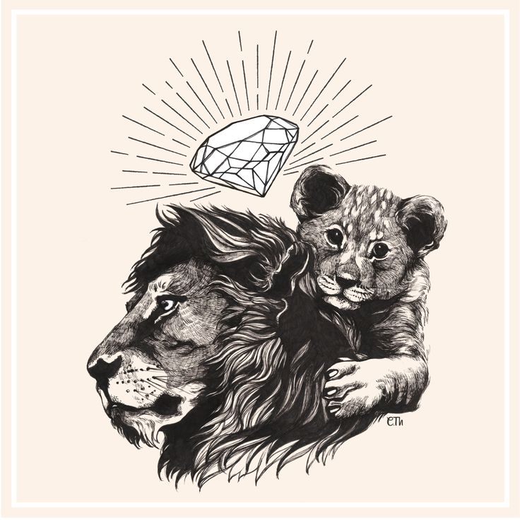 Lions & diamond  / Commissioned project for a tattoo / Illustration Clémence Thienpont