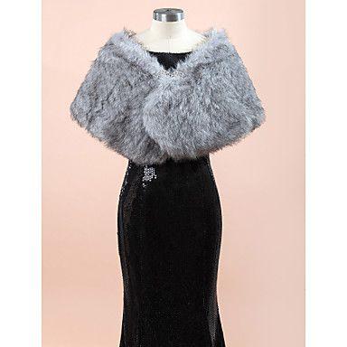 Wedding++Wraps+/+Fur+Wraps+Shawls+Sleeveless+Faux+Fur+Gray+Wedding+/+Party/Evening+Rhinestone+Clasp+–+USD+$+14.99