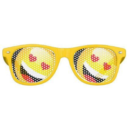 #Yellow Smiley Face Emojo Party Emoticon Rave Retro Sunglasses - #emoji #emojis #smiley #smilies