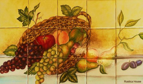 "A rustic tile mural looks pretty on a kitchen wall backsplash, bathroom wall or table-top. Fruit mural sku 19092 is available in made to order dimensions. rustic tiles can be also installed in swimming pools, fountains and outside of the buildings. Tile Mural ""Fruit"" by Rustica House. #RusticaHouse"