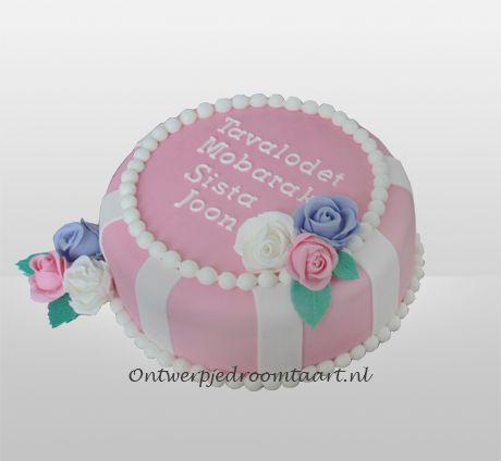 Verjaardagstaart roze met rozen