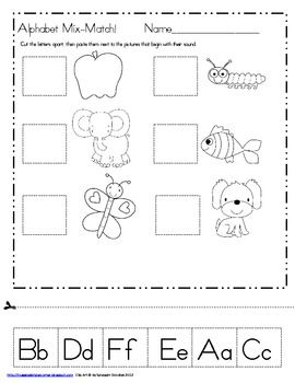 Alphabet Letters and Sounds Mix-Match for Kindergarten freebie!
