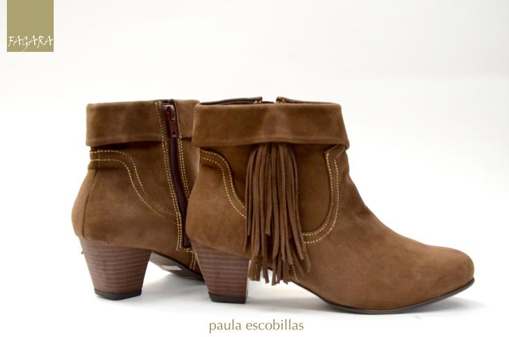 botín Paula escobillas / 100% cuero