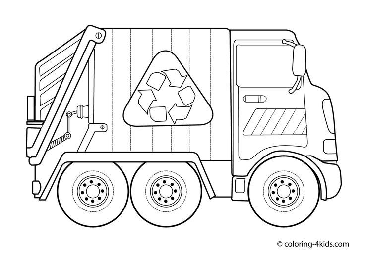 Garbage Truck Transportation Coloring Pages For Kids Printable Free