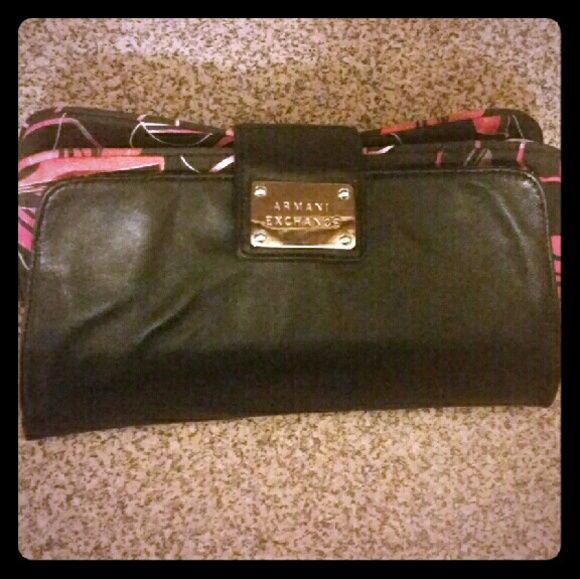 Armani Exchange bag  Armani Exchange Clutch Black/Floral Lining 4 Zippered   Compartments ...Never used !!! A/X Armani Exchange Bags