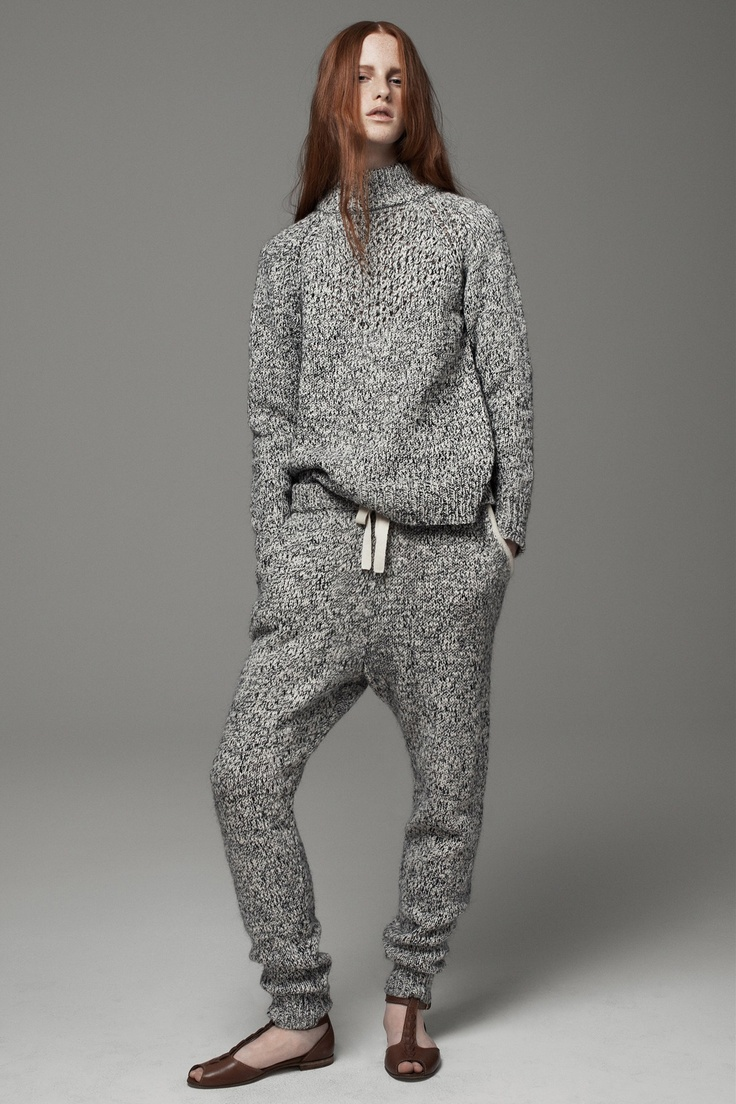 Thakoon Addition #sweater #suit #monochrome #sweatpants #grey #knit