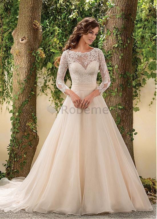 Robe de mariée a,ligne manche longue appliques avec manches sexy
