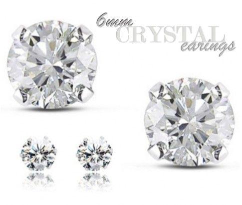Pair of 6mm Round Clear Crystal Stud Earrings
