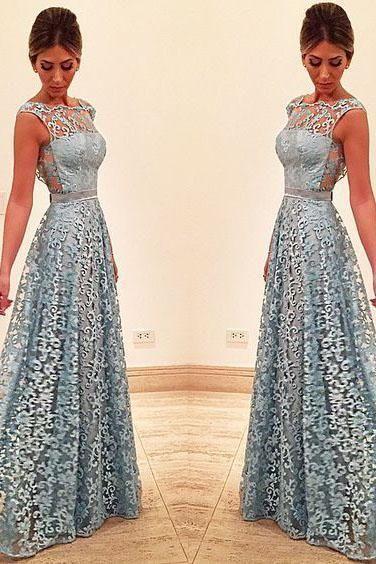 10549a37eb3 Elegant A Line Lace Appliques Long Blue Open Back Prom Dresses ...