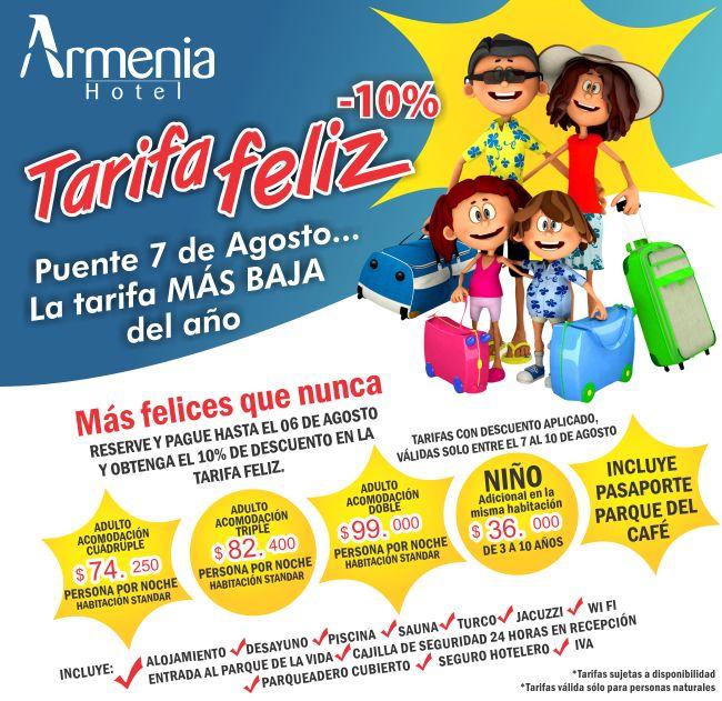 Armenia Hotel le ofrece una tarifa de alojamiento desde $99.000* del 7 al 10 de agosto. Para más información visite http://www.armeniahotel.com.co/?p=3961