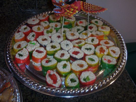 Circa 2005 Rice Krispy and fruit by the foot Kids sushi Using gummi worms and swedish fish Chinese New Year Birthday Party. Mulan Birthday Party