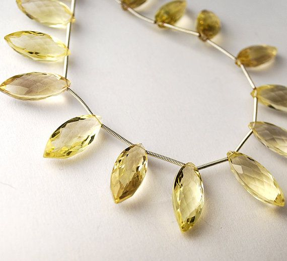 2inches AAA Lemon Quartz Faceted Marquise Briolettes 2 by vanini71