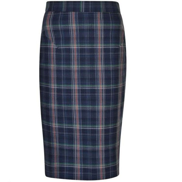 Vivienne Westwood Check Pencil Skirt (€305) ❤ liked on Polyvore featuring skirts, navy, blue cotton skirt, navy skirts, button pencil skirt, cotton pencil skirts and blue skirt