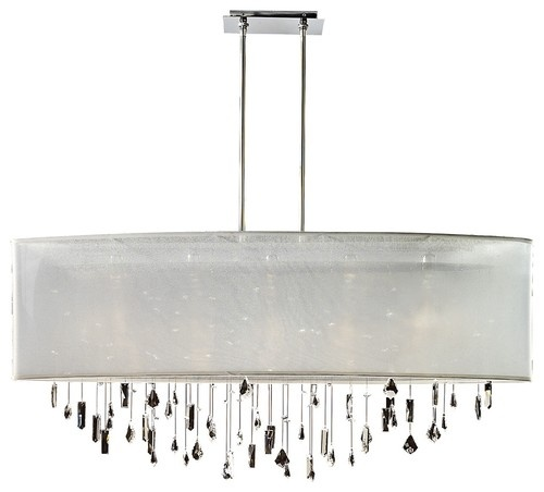 """Contemporary Lifestyles Crystal and White 45"""" Wide Pendant Chandelier - contemporary - chandeliers - - by Lamps Plus"""