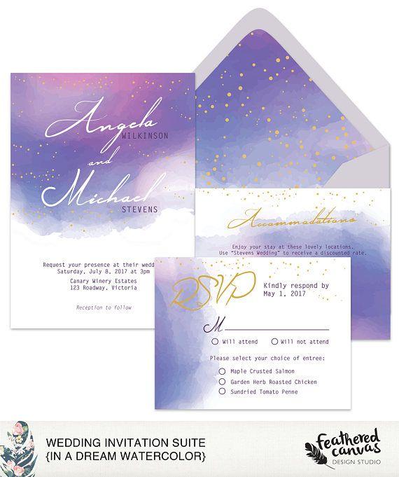 Watercolor Wedding Invitation Suite In a Dream Watercolor