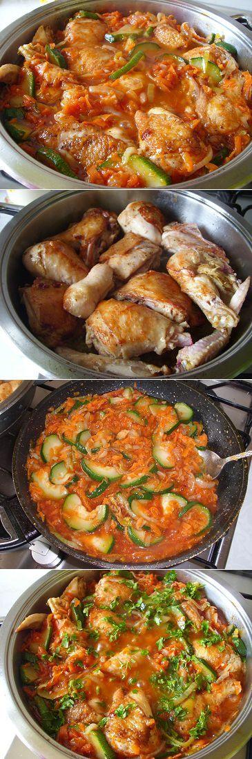 Ароматная курица с кабачками в соусе | Рецепты моей мамы