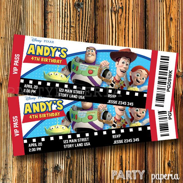 A personal favorite from my Etsy shop https://www.etsy.com/listing/243249433/toy-story-movie-ticket-invitation-toy