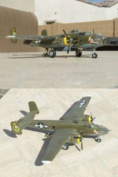 B25J Mitchell Bomber Plastic Model Airplane Kit with some weathering done. This kit is in 1/48 Scale and displays some great decals to bring this model to life. @ http://www.hobbylinc.com/revell-monogram-b25j-mitchell-bomber-plastic-model-airplane-kit-1:48-scale-855512